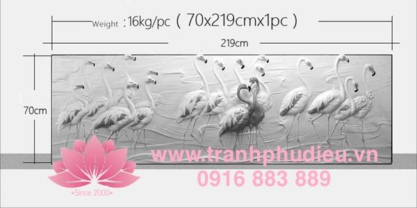 Tranh phù điêu đất sét chim hồng hạc