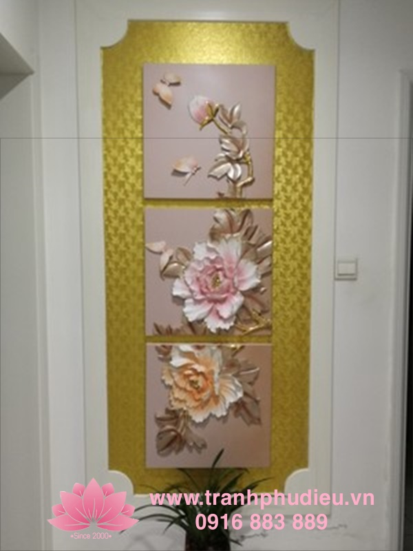 Hình ảnh sản phẩm tranh phù điêu hoa mẫu đơn tại nhà Khách hàng