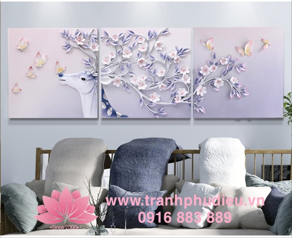 Tranh phù điêu composite Tuần lộc hoa