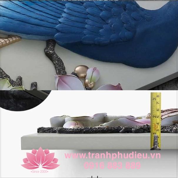 tranh phù điêu composite chim công