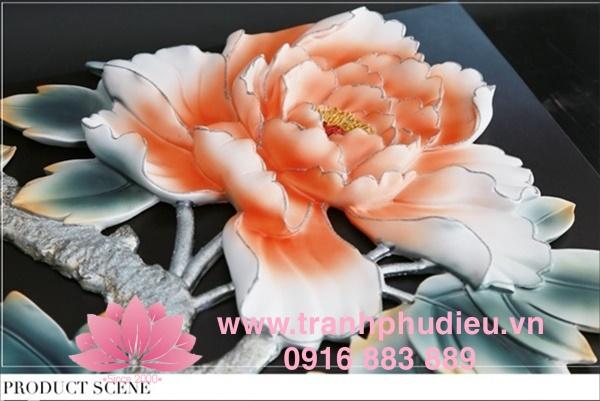 tranh phù điêu composite hoa mẫu đơn