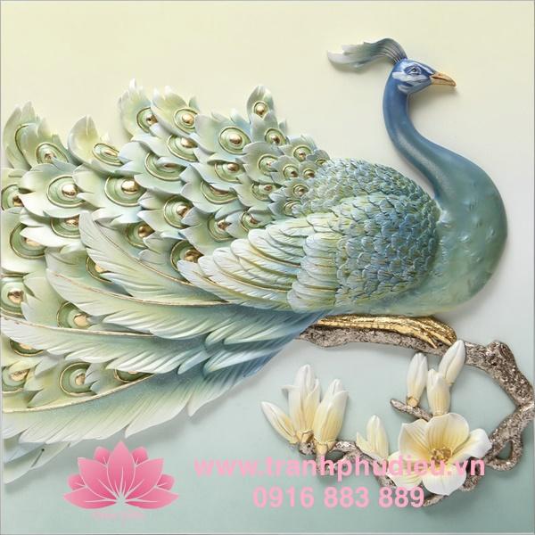 Tranh phù điêu 3D tphcm chim công