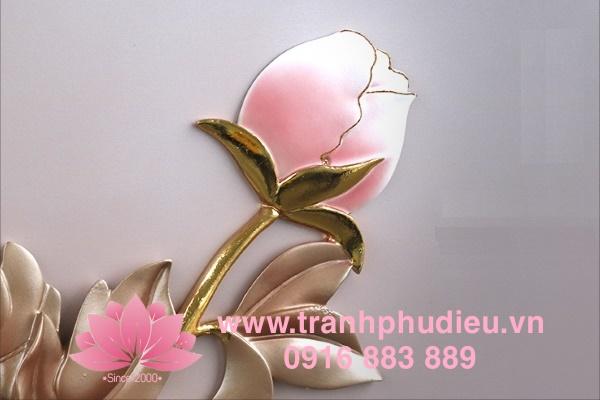 Tranh phù điêu 3D hoa mẫu đơn