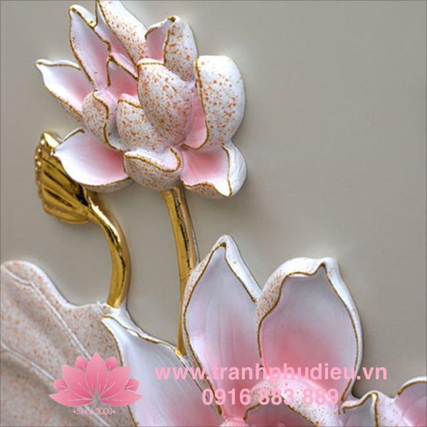 Tranh phù điêu hoa sen