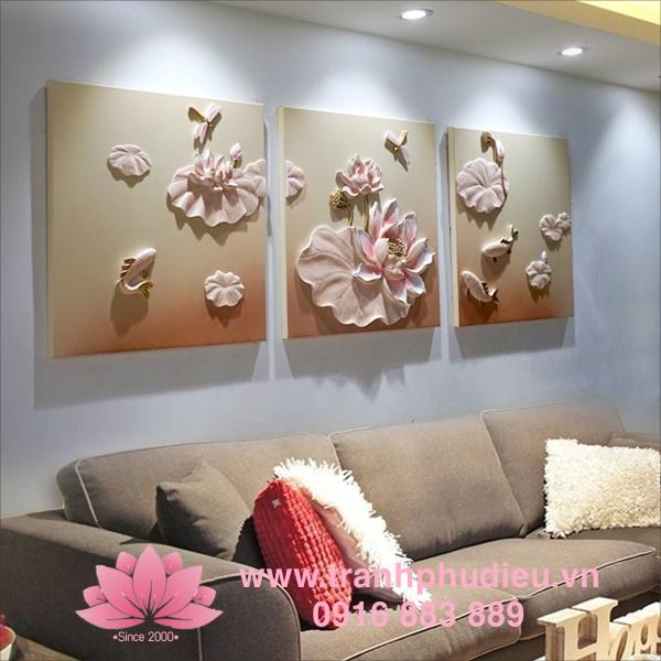 Tranh phù điêu composite hoa sen