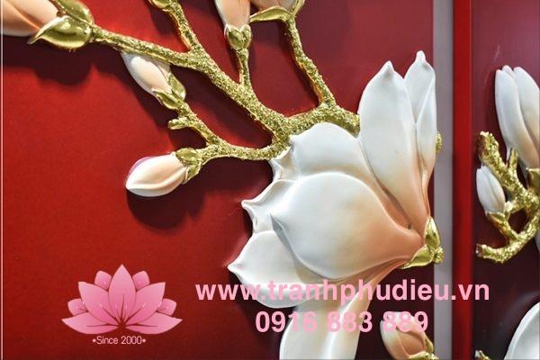 Tranh phù điêu composite Hoa mộc lan