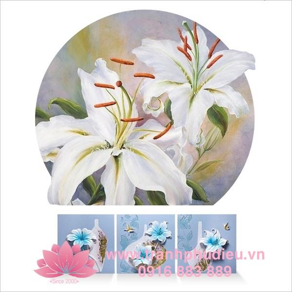 Tranh phù điêu hoa loa kèn