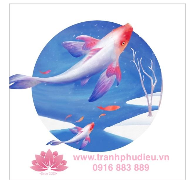 Tranh phù điêu cá chép hoa sen lấy cảm hứng từ loài cá chép đẹp