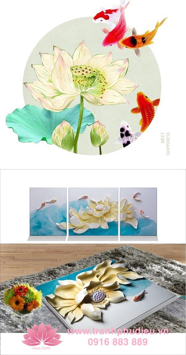 Tranh 3D cá chép hoa sen