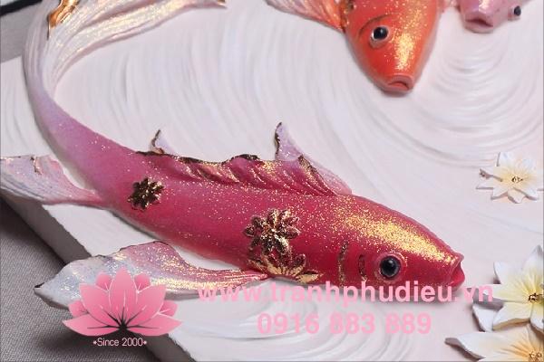 Tranh nổi 3D cá chép hoa sen
