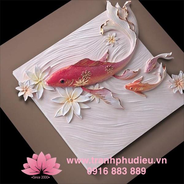 Tranh phù điêu 3D cá chép hoa sen