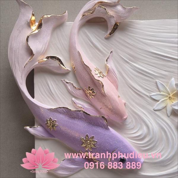 Tranh phù điêu composite cá chép hoa sen