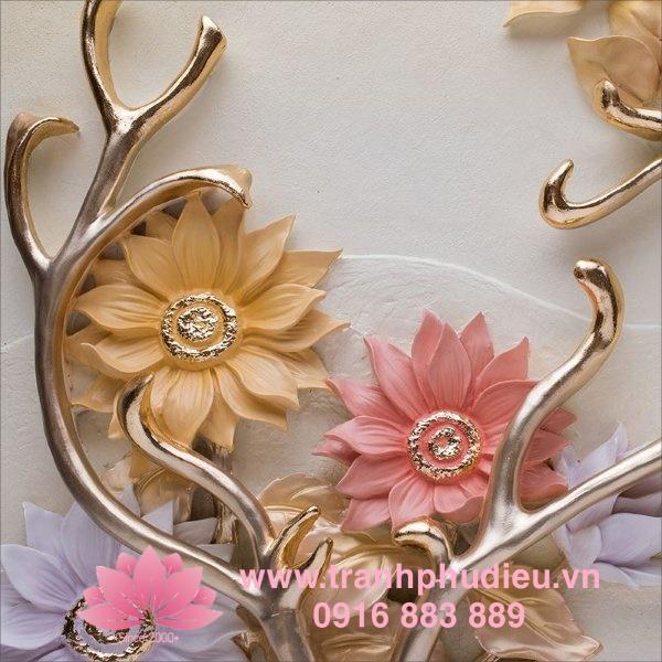 Tranh nổi 3D Tuần lộc hoa hướng dương