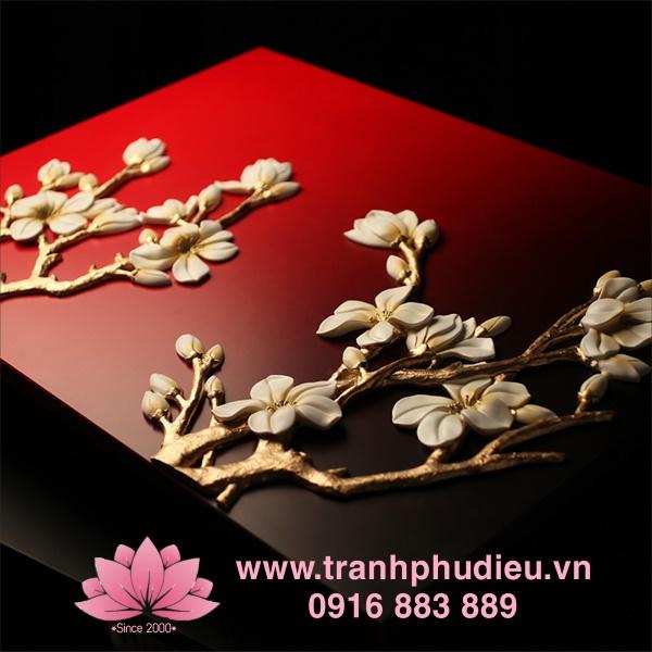 Tranh phù điêu 3d tphcm hoa mai trắng