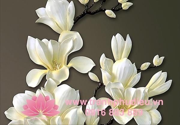 Tranh phù điêu hoa mộc lan