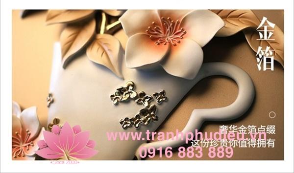 Tranh treo tường 3D hoa đào