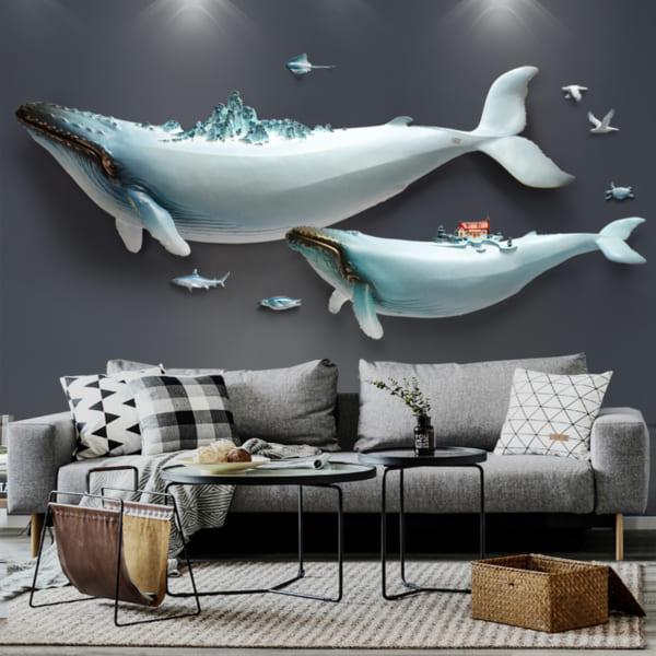 Tranh đất sét 3D cá voi