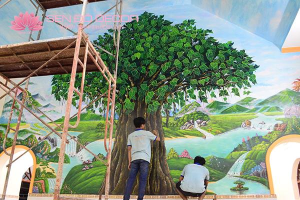 Tranh đắp tường bằng xi măng, đắp tranh phù điêu đẹp tại Hà Nội