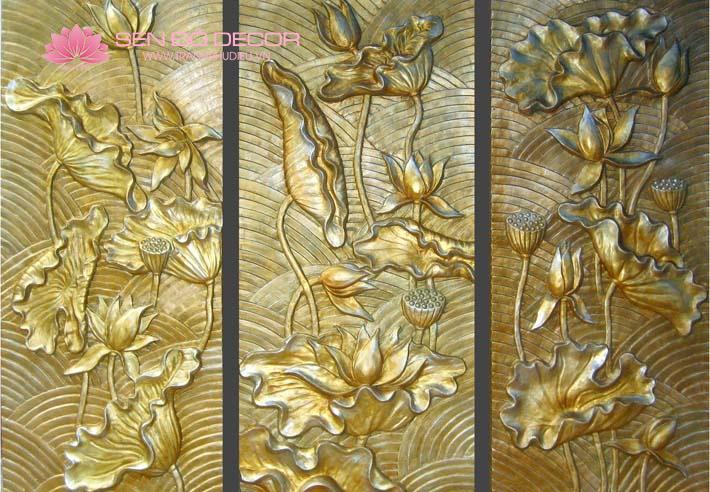 Phù điêu hoa sen composite giả đồng đẹp giá rẻ uy tín chất lượng