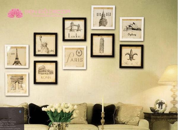 Bộ 6 khung tranh treo tường hiện đại phòng cho bé