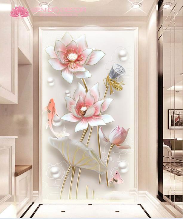Tranh hoa sen đẹp trang trí nội thất không gian phòng khách!